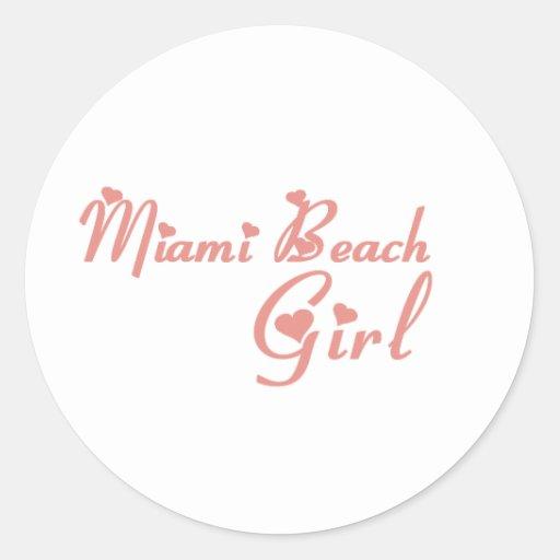 Camisetas del chica de Miami Beach Etiqueta