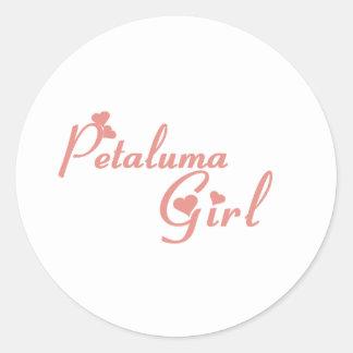 Camisetas del chica de Petaluma Etiqueta Redonda