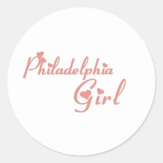 Camisetas del chica de Philadelphia Pegatinas Redondas