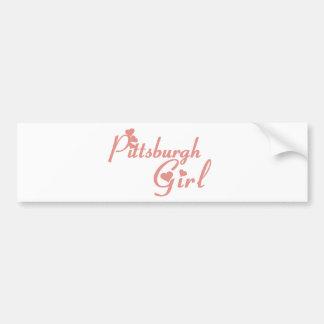 Camisetas del chica de Pittsburgh Etiqueta De Parachoque
