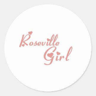 Camisetas del chica de Roseville Pegatinas Redondas