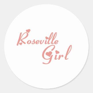 Camisetas del chica de Roseville Etiquetas Redondas