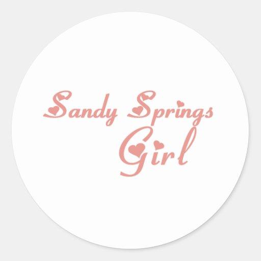Camisetas del chica de Sandy Springs Pegatina Redonda