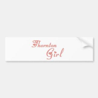 Camisetas del chica de Thornton Etiqueta De Parachoque