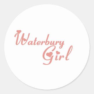 Camisetas del chica de Waterbury Pegatinas Redondas