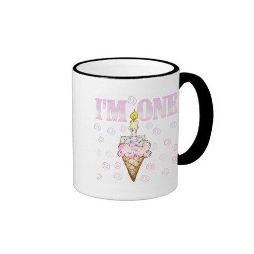 Camisetas del cumpleaños del cono de helado 1ras taza a dos colores