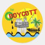 Camisetas del derrame de petróleo etiquetas redondas