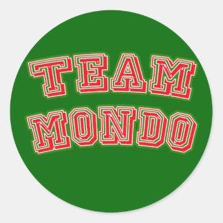 Camisetas del EQUIPO MONDO, botones, tazas Pegatina Redonda