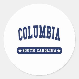 Camisetas del estilo de la universidad de Columbia Etiqueta Redonda