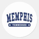 Camisetas del estilo de la universidad de Memphis  Etiqueta Redonda