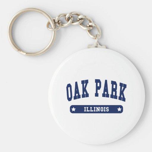 Camisetas del estilo de la universidad de Oak Park Llavero Redondo Tipo Pin