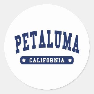 Camisetas del estilo de la universidad de Petaluma Pegatina Redonda