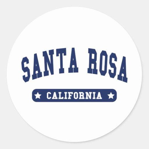 Camisetas del estilo de la universidad de Santa Pegatina Redonda