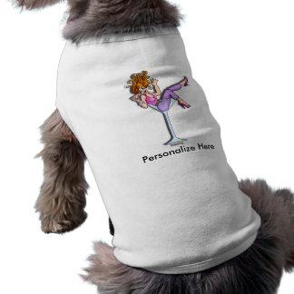 Camisetas del mascota - chica en un vidrio de Mart