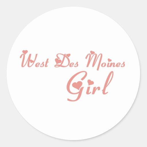 Camisetas del oeste del chica de Des Moines Etiquetas Redondas