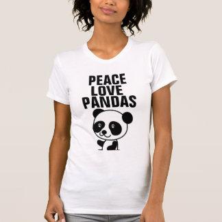 Camisetas del oso de panda, amor de la paz poleras