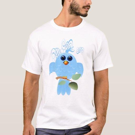Camisetas del pájaro del azul de cielo