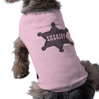 Camisetas del perro de la insignia del sheriff playera sin mangas para perro