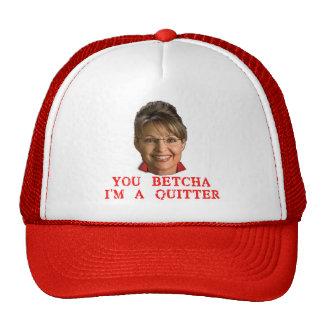 Camisetas del Quitter de Sarah Palin, botones, taz Gorros
