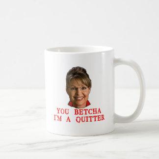 Camisetas del Quitter de Sarah Palin, botones, Taza Clásica