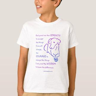 Camisetas del rezo w/Dog de la serenidad de los