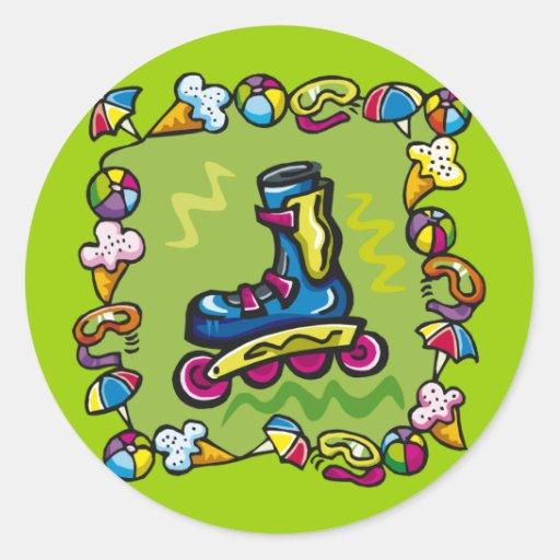 Camisetas del Rollerblade de los niños y regalos Etiqueta Redonda