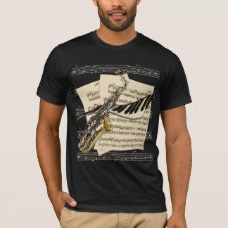 Camisetas del saxofón y de la música del piano