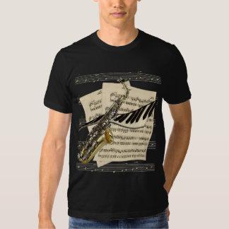 Camisetas del saxofón y de la música del piano playeras