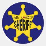 Camisetas del sheriff de los niños y regalos de pegatina redonda