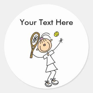 Camisetas del tenis de las mujeres personalizadas etiqueta redonda