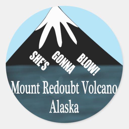Camisetas del volcán de la reduda del soporte pegatina redonda