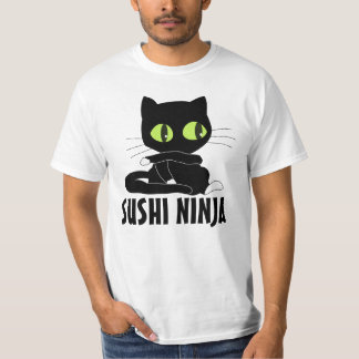 Camisetas divertidas del CAT de NINJA del SUSHI Camisas