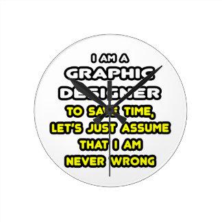 Camisetas divertidas del diseñador gráfico reloj redondo mediano