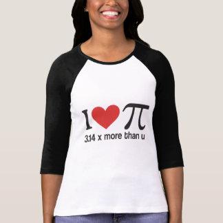 Camisetas divertidas del friki del corazón pi de I Playera