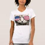 Camisetas divertidas del gato patriótico, gafas de poleras