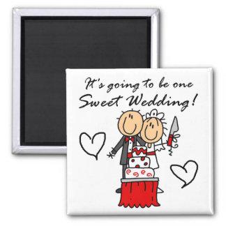 Camisetas dulces y regalos de un boda imán cuadrado