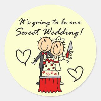 Camisetas dulces y regalos de un boda pegatina redonda