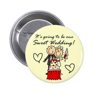 Camisetas dulces y regalos de un boda pin redondo 5 cm