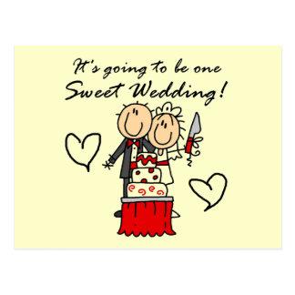 Camisetas dulces y regalos de un boda postales