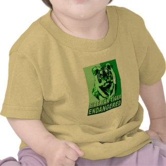 Camisetas en peligro del arte pop del tigre siberi