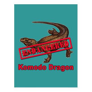 Camisetas en peligro del dragón de Komodo Tarjetas Postales