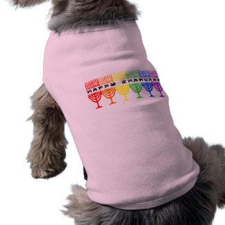 Camisetas feliz del perro de Chanukah del arco iri Camiseta De Perrito