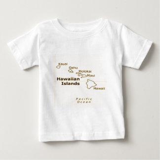 Camisetas hawaianas del bebé del mapa