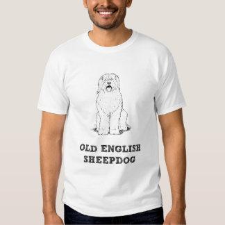 Camisetas inglesas viejas del perro pastor remeras