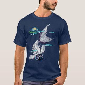 Camisetas Koi-Azules blancas del lirio