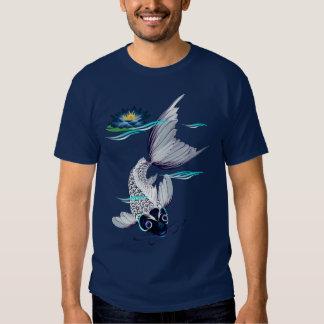 Camisetas Koi-Azules blancas del lirio Camisas