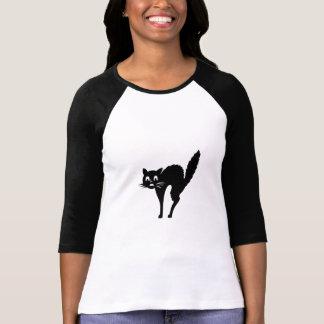 Camisetas lindas de Fraidy del gatito del negro Remera