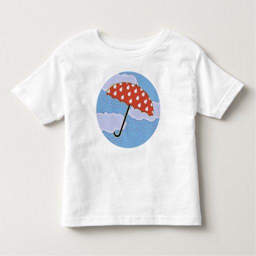 Camisetas lindas del niño del paraguas
