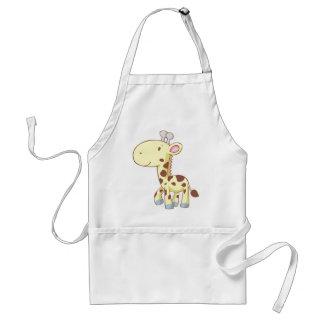 Camisetas lindo de la jirafa del bebé del dibujo a delantal