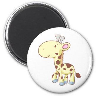 Camisetas lindo de la jirafa del bebé del dibujo a imán redondo 5 cm